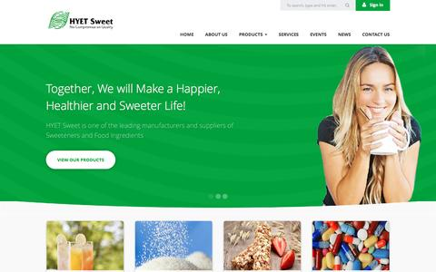 Screenshot of Home Page hyetsweet.com - HYET Sweet   Sweeteners & Food Ingredients - captured Jan. 24, 2016