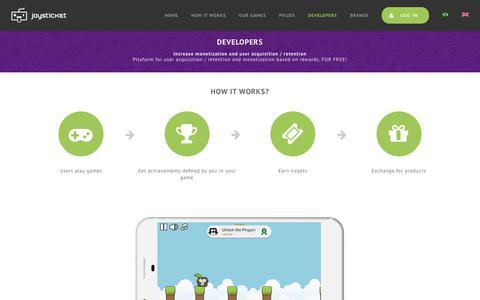Screenshot of Developers Page joysticket.com - Developers – Joysticket - captured Sept. 20, 2018