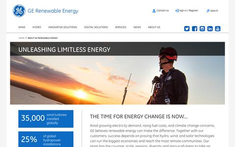 Screenshot of About Page ge.com - About GE Renewable Energy - captured July 7, 2018