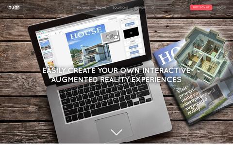 Screenshot of Home Page layar.com - Augmented Reality | Interactive Print | Layar - captured July 3, 2015