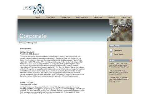Screenshot of Team Page us-silver.com - U.S. Silver & Gold Inc. - Corporate - Management - captured Oct. 3, 2014