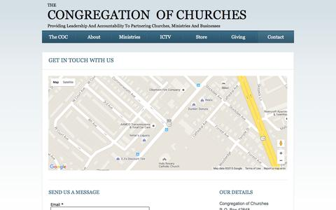 Screenshot of Contact Page congregationofchurches.org - Contact - captured Sept. 27, 2015
