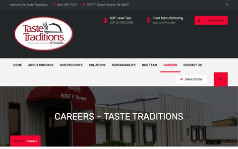 Screenshot of Jobs Page tastetraditions.com - Careers – Taste Traditions - captured Nov. 7, 2018