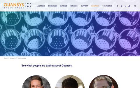 Screenshot of Testimonials Page quansysbio.com - Testimonials - Quansys Biosciences - captured Sept. 29, 2018