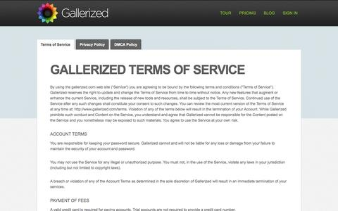Screenshot of Terms Page gallerized.com - Gallerized - Simple Image Management - captured Sept. 30, 2014