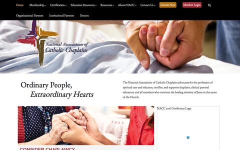 Screenshot of Home Page nacc.org - The National Association of Catholic Chaplains - captured Feb. 13, 2016