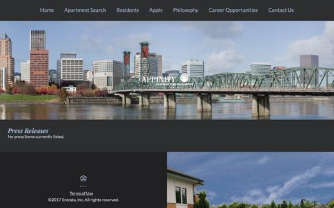 Screenshot of Press Page affinityproperty.com - Affinity Property Management (OR) | Press Releases - captured Oct. 7, 2017