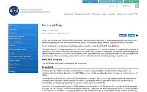 Screenshot of Terms Page iffgd.org - Terms of Use - IFFGD - captured Oct. 15, 2017
