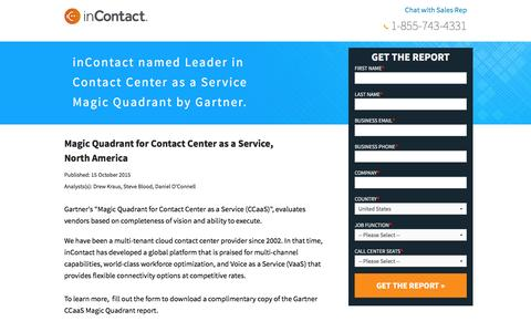 "Screenshot of Landing Page incontact.com - Gartner names inContact as a leader in the ""Magic Quadrant for Contact Center as a Service"" report - captured Nov. 11, 2016"