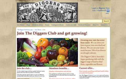 Screenshot of Signup Page diggers.com.au - Join us for Garden Ideas, Garden Supplies, Plants For Sale Online - The Diggers Club - captured Nov. 4, 2014