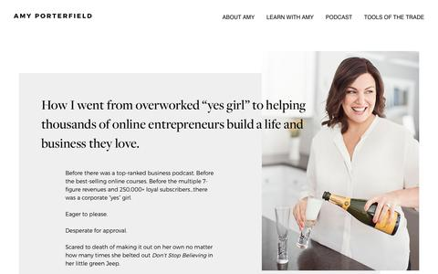 Screenshot of About Page amyporterfield.com - About Amy - Amy Porterfield | Online Marketing Expert - captured April 10, 2017
