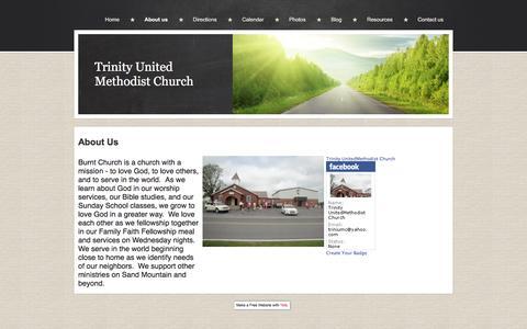 Screenshot of About Page trinityrainsville.yolasite.com - Trinity United Methodist Church - captured June 25, 2016