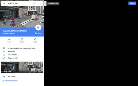 Screenshot of Maps & Directions Page google.com - RESULTS.com United States - Google Maps - captured Dec. 8, 2015