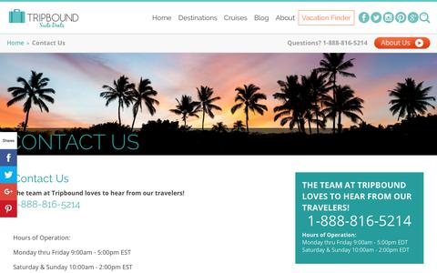Screenshot of Contact Page tripbound.com - Tripbound Contact Page - captured June 10, 2019