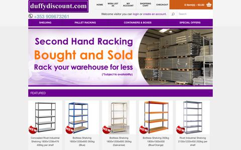 Screenshot of Home Page duffydiscount.com - Duffy Discount - Boltless Shelving, Steel Shelving, Angled Shelving, Pallet Racking - captured Sept. 30, 2014