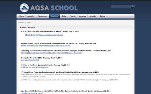 Screenshot of Press Page aqsa.edu - Aqsa School - captured Nov. 19, 2016
