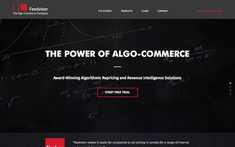 Screenshot of Home Page feedvisor.com - Feedvisor - The Algo-Commerce Company - captured Oct. 1, 2015
