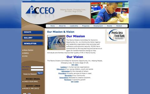 Screenshot of About Page Privacy Page Contact Page Team Page pcceo.org - PCCEO, Inc. - captured Oct. 22, 2014