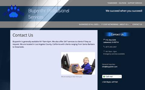 Screenshot of Contact Page blupanthr.com - Contact Us | Blupanthr Professional Services - captured Oct. 10, 2017