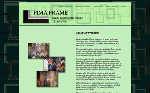 Screenshot of Products Page pimaframe.com - PIMA FRAME | tucson, arizona | products - captured Sept. 25, 2018
