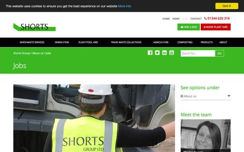 Screenshot of Jobs Page shorts-group.co.uk - Jobs - Shorts Group - Berkshire, Buckinghamshire, Surrey, Oxfordshire and Hampshire - captured Dec. 1, 2016