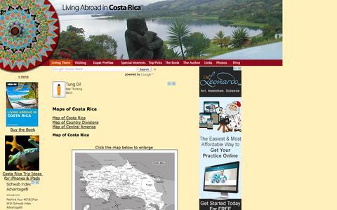 Screenshot of Maps & Directions Page livingabroadincostarica.com - Maps of Costa Rica - captured Sept. 30, 2014
