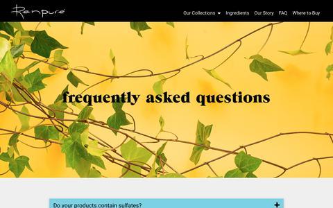 Screenshot of FAQ Page renpure.com - FAQ - Renpure - captured Oct. 18, 2018