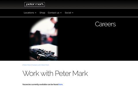 Screenshot of Jobs Page petermark.ie - Careers - Positions available - captured July 17, 2018