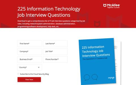 Screenshot of Landing Page skyhighnetworks.com - 225 Information Technology Job Interview Questions - captured May 17, 2018