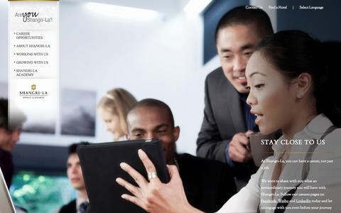 Screenshot of Jobs Page shangri-la.com - Careers  | Shangri-La Hotels and Resorts - captured Sept. 18, 2014