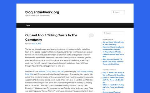 Screenshot of Blog sntnetwork.org - blog.sntnetwork.org | Special Needs Trust Network Blogblog.sntnetwork.org | Special Needs Trust Network Blog - captured Oct. 6, 2014