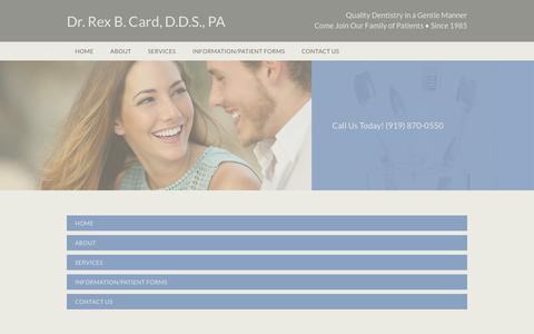 Screenshot of Site Map Page drcard.com - preventive, restorative and cosmetic dental services | Raleigh, North Carolina | Dr. Rex B. Card, D.D.S., PA - captured May 29, 2019