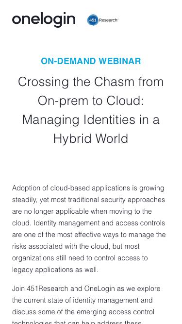 Crossing the Chasm from On-prem to Cloud: Managing Identities in a Hybrid World