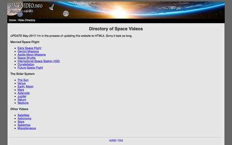 Screenshot of Home Page space-video.info - Space Videos - captured Jan. 27, 2018