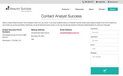 Screenshot of Contact Page analystsuccess.com - Contact Analyst Success - Contact Information - captured Oct. 29, 2014