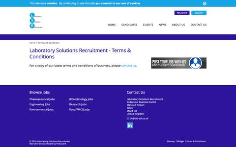 Screenshot of Terms Page lab-sol.co.uk - Terms & Conditions - Laboratory Solutions Recruitment - captured Oct. 17, 2016