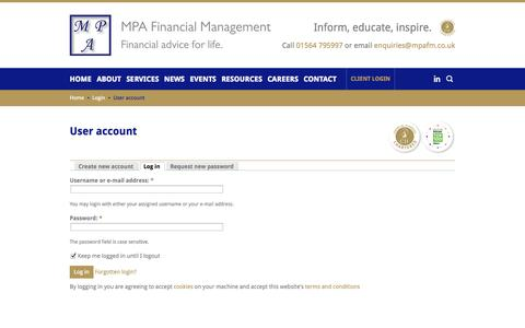 Screenshot of Login Page mpafm.co.uk - User account   MPA Financial Management   Solihull - captured Oct. 4, 2014
