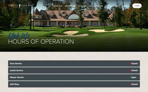 Screenshot of Hours Page tartanfields.com - Hours of Operation | Tartan Fields Golf Club | Dublin, OH - captured Jan. 12, 2017
