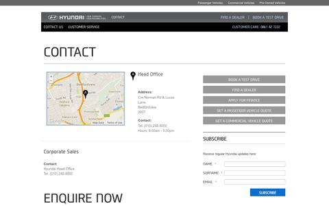 Screenshot of Contact Page hyundai.co.za - Contact Us | Hyundai South Africa | New Thinking, New Possibilities. - captured Sept. 19, 2014