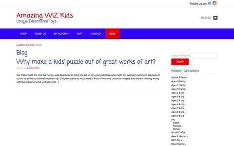 Screenshot of Blog amazingwizkids.com - Blog   Amazing WIZ Kids   Unique Educational Toys - captured Dec. 25, 2015
