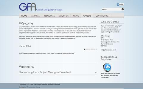 Screenshot of Jobs Page gf-associates.co.uk - Careers   GFA - captured Oct. 1, 2014
