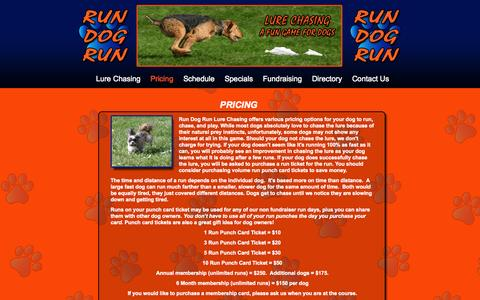 Screenshot of Pricing Page rundogrun.us - Pricing for Run Dog Run Lure Chasing, Lure Coursing - captured Oct. 7, 2014