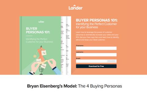 Screenshot of Landing Page landerapp.com - Buyer Personas 101 - captured Aug. 17, 2016