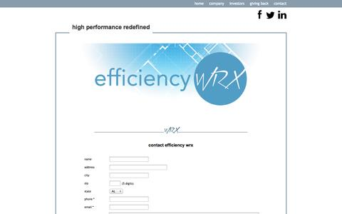 Screenshot of Contact Page efficiencywrx.com - contact - captured Oct. 2, 2014