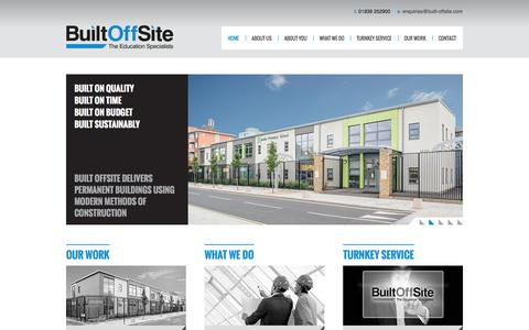 Screenshot of Home Page built-offsite.com - Built Offsite Ltd. The Education Specialists - captured Sept. 30, 2014