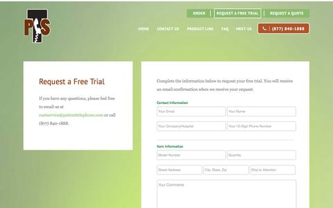 Screenshot of Trial Page patienttelephone.com - Free Trial | Patient Telephone Supply - captured Oct. 2, 2014