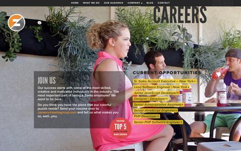 Screenshot of Jobs Page zeeto.io - Zeeto - captured Jan. 20, 2016