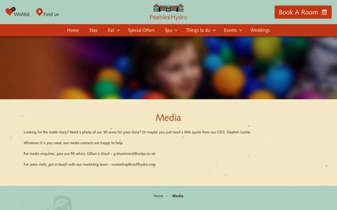 Screenshot of Press Page peebleshydro.co.uk - Media | Peebles Hydro - captured July 16, 2018