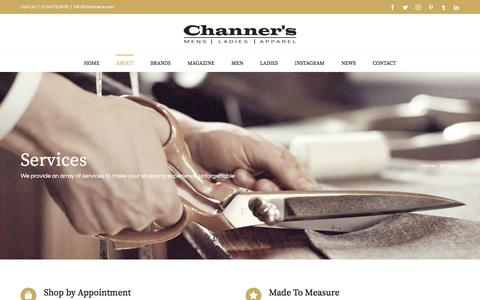 Screenshot of Services Page channers.com - Services - Channer's London - captured Sept. 23, 2018