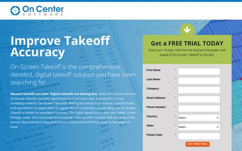 Screenshot of Trial Page oncenter.com - Digital Takeoff Solution   On-Screen Takeoff Free Trial - captured June 20, 2017